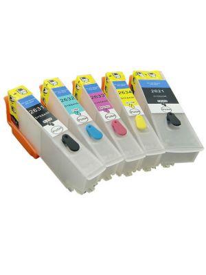 Cartouches rechargeables pour Epson T2621-T2631-T2632-T2633-T2634 avec auto reset puces 5pc REFILLT26XL-KHL