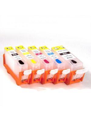 Cartouches rechargeables pour Canon PGI-525Bk/CLI-526Bk/C/M/Y avec auto reset puces (5 pc) 11002