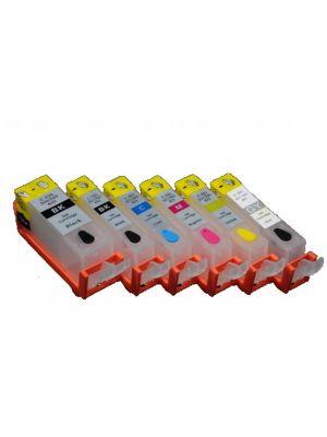 Cartouches rechargeables pour Canon PGI-525Bk/CLI-526Bk/C/M/Y/GY avec auto reset puces (6 pc) 11003