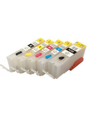 Cartouches rechargeables pour Canon PGI-550/CLI-551 avec auto reset puces (5 pc) HERV5PGI550CLI551