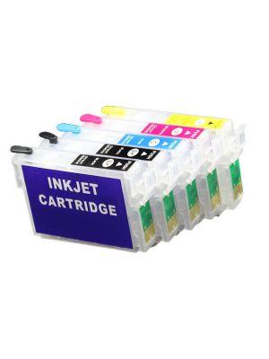 Cartouches rechargeables pour Epson (2 x T0711)+T0712+T0713+T0714 avec auto reset puces (5pc) 6006