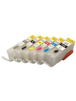 Cartouches rechargeables pour Canon PGI-570/CLI-571 avec auto reset puces (6 pc) HERV6PGI570CLI571-KHL