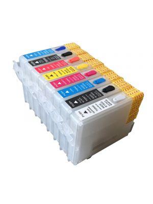 Cartouches rechargeables pour Epson R800/R1800 avec auto reset puces (8 pc) 6022