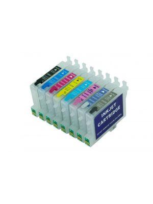 Cartouches rechargeables pour Epson R2400 avec auto reset puces (8 pc) 6021