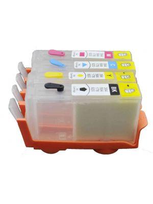 Cartouches rechargeables pour HP364Bk-HP364C-HP364M-HP364Y sans puces (4 pc) 6013
