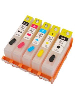 Cartouches rechargeables pour HP364Bk-HP364C-HP364M-HP364Y-HP364PBk AVEC puces (5 pc) 11501