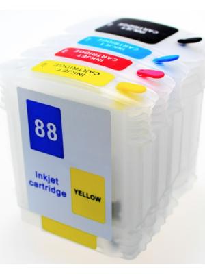 Cartouches rechargeables pour HP88Bk-HP88C-HP88M-HP88Y avec auto reset puces (4pc) 6009