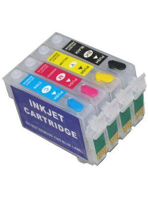 Cartouches rechargeables pour Epson T1281-1284/T1291-1294/T1301-1304 avec auto reset puces (4pc) 9208