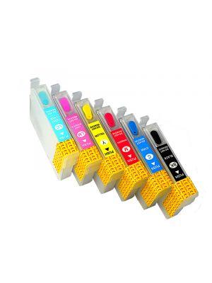 Cartouches rechargeables pour Epson T0801-T0806 avec auto reset puces (6pc) 6001